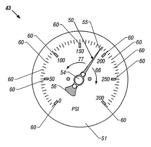 Methods of reading and manufacturing industrial diagnostic gauges for reading in no light and low light conditions (US patent #6536295)